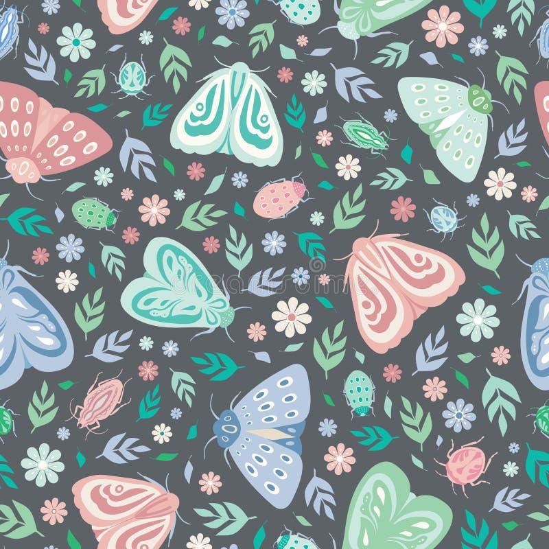 Безшовная предпосылка картины повторения сумеречниц, жуков, листьев и цветков Дизайн поверхности вектора насекомых и флоры иллюстрация вектора