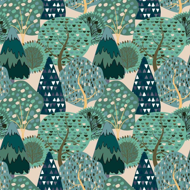 Безшовная предпосылка картины со стилизованными деревьями лета стоковая фотография rf