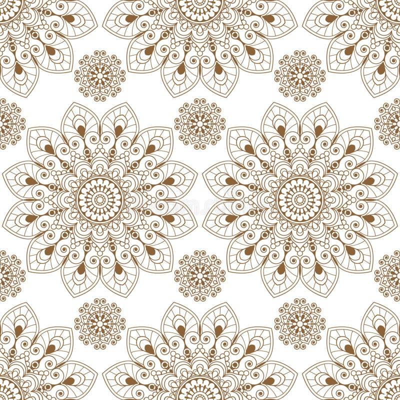 Безшовная предпосылка картины с коричневыми и белыми деталями украшения buta шнурка хны mehndi в индийском стиле иллюстрация штока