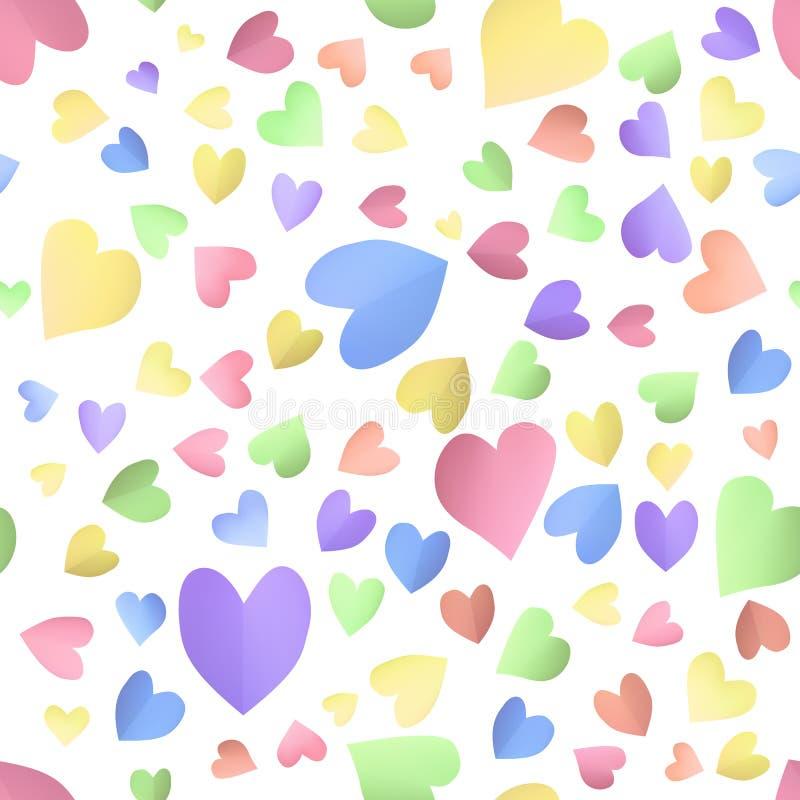 Безшовная предпосылка картины с милыми сердцами цвета бесплатная иллюстрация