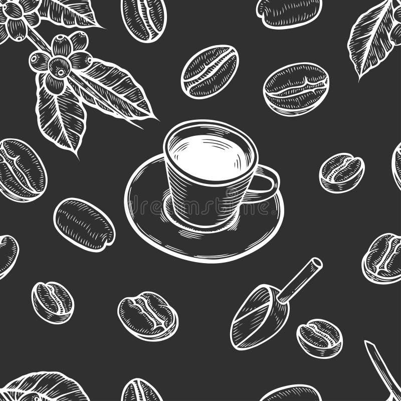 Безшовная предпосылка кофе иллюстрация вектора