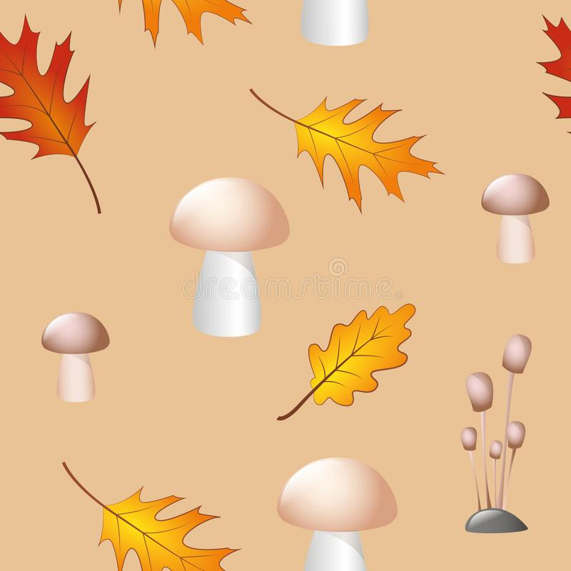 Безшовная предпосылка листьев и грибов осени картины бесплатная иллюстрация