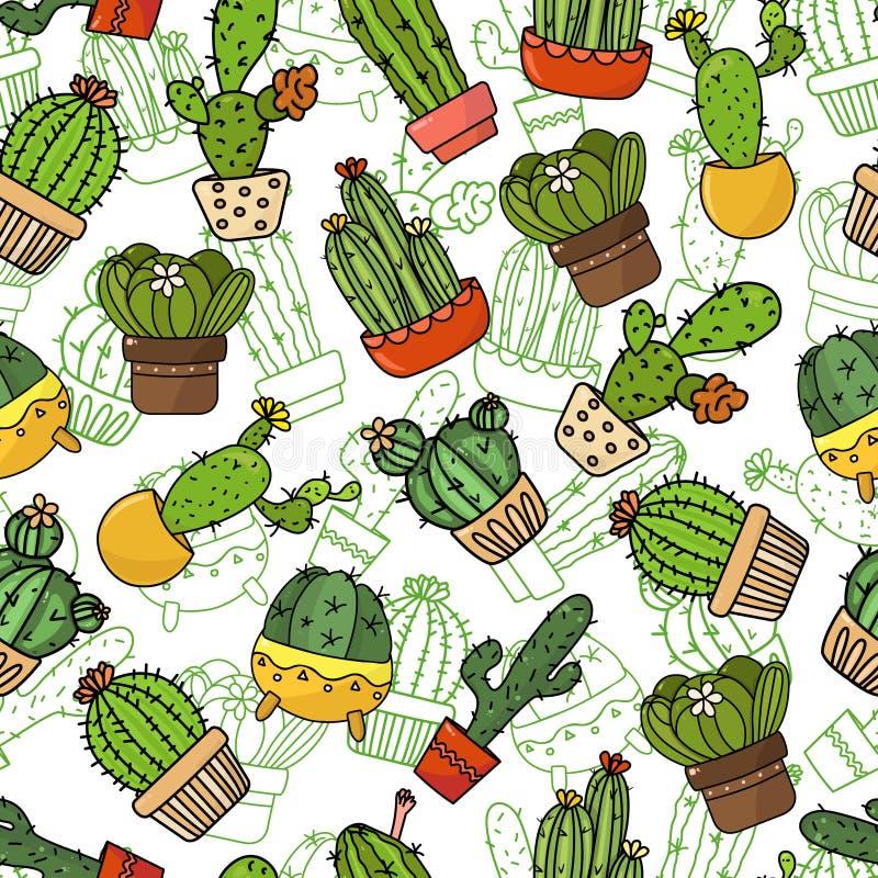Безшовная предпосылка, обои, текстура, кактусы шаржа фона Собрание иллюстраций doodle вектора Шаблон для иллюстрация вектора