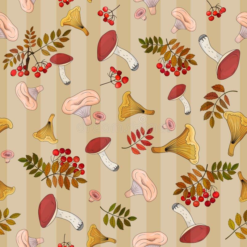 Безшовная предпосылка осени с дикими грибами и листьями осени на предпосылке вертикальных нашивок бесплатная иллюстрация