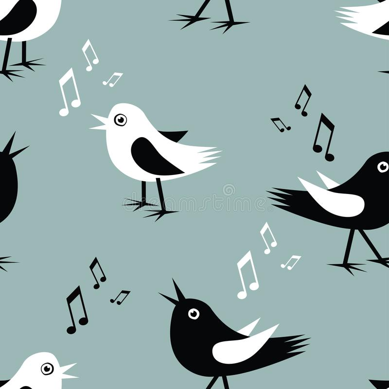 Безшовная предпосылка смешных птиц петь бесплатная иллюстрация