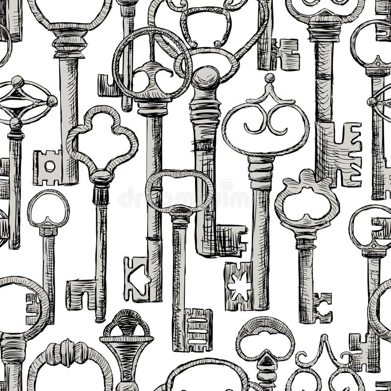 Безшовная предпосылка старых ключей иллюстрация штока