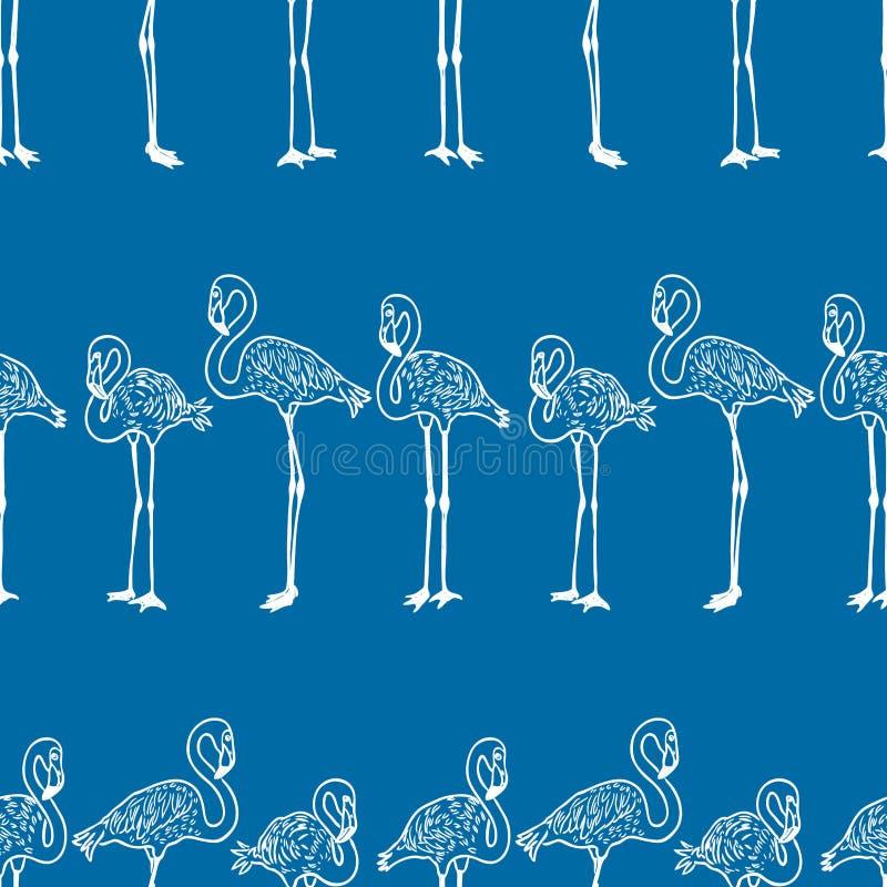 Безшовная предпосылка стоя фламинго мультфильма иллюстрация штока