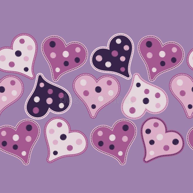 Безшовная предпосылка с декоративными сердцами Валентайн дня s иллюстрация штока