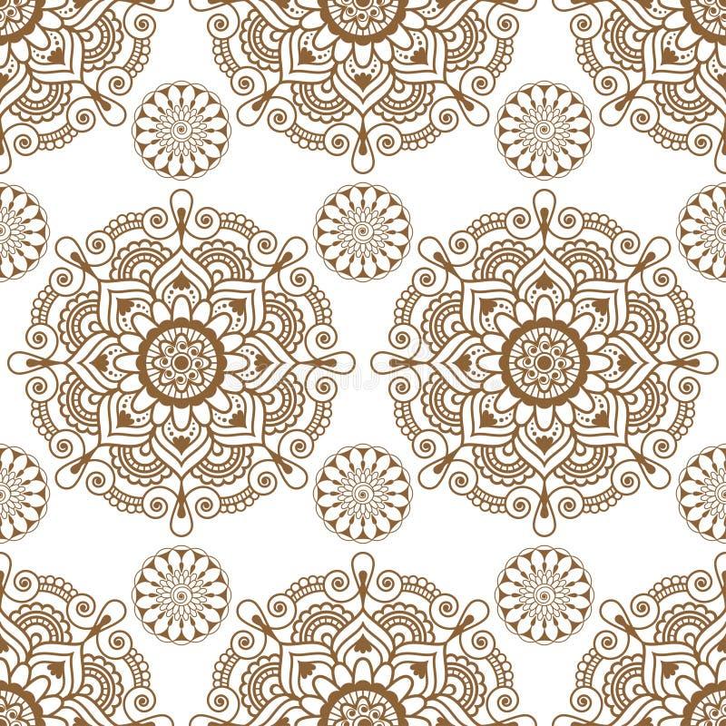 Безшовная предпосылка с деталями украшения buta шнурка хны коричневого mehndi флористическими на белой предпосылке в индийском ст бесплатная иллюстрация