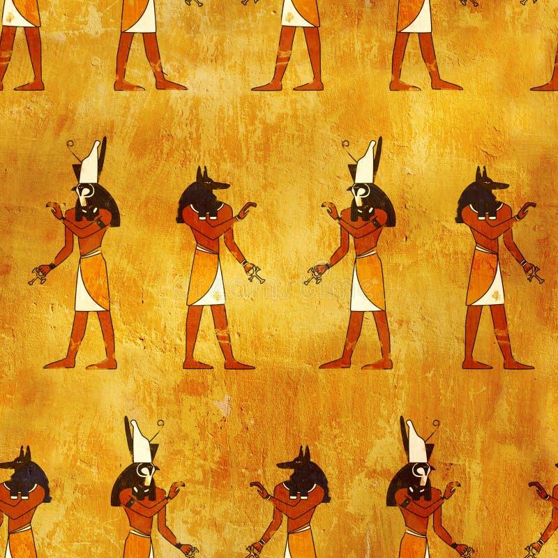 Безшовная предпосылка с египетскими изображениями богов иллюстрация вектора