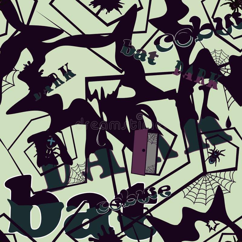 Безшовная предпосылка с паутинами и пауками - темное 1 стоковое изображение rf