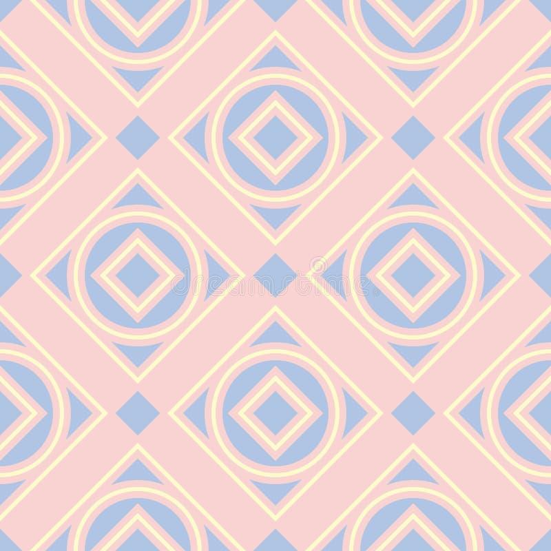 Безшовная предпосылка с покрашенной геометрической картиной Розовые, голубые и бежевые элементы бесплатная иллюстрация