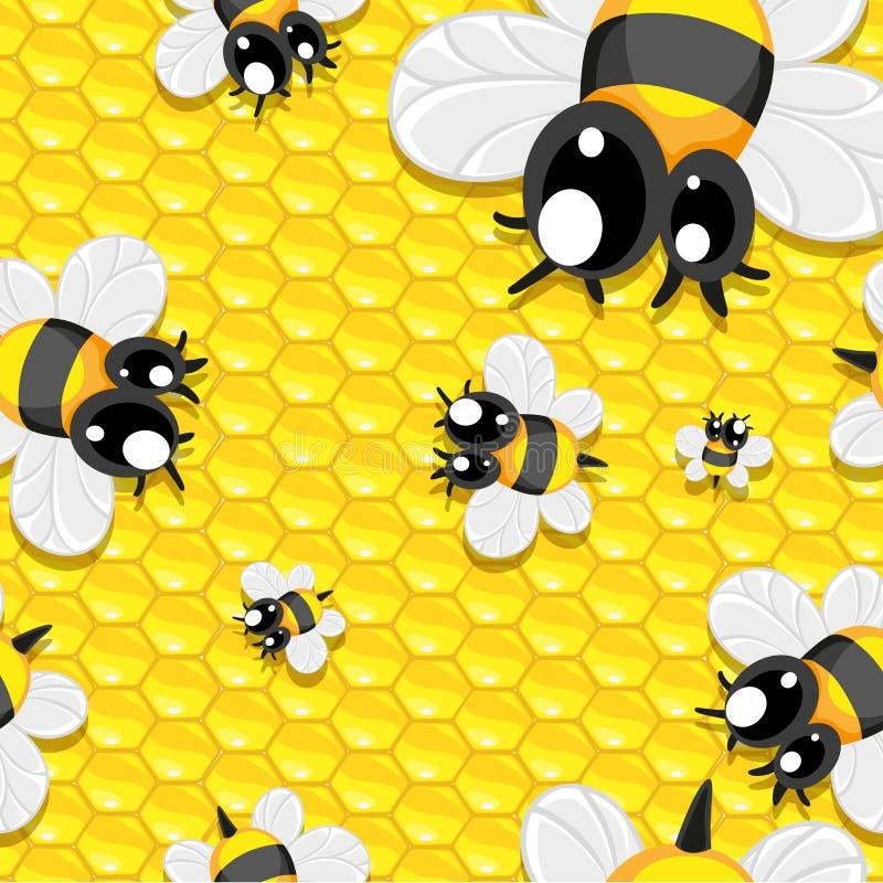 Безшовная предпосылка с пчелами меда и младенца бесплатная иллюстрация