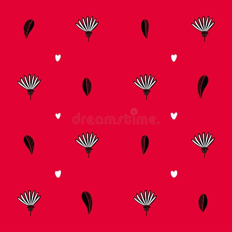 Безшовная предпосылка с сердцами и с цветком и с листьями деревьев бесплатная иллюстрация