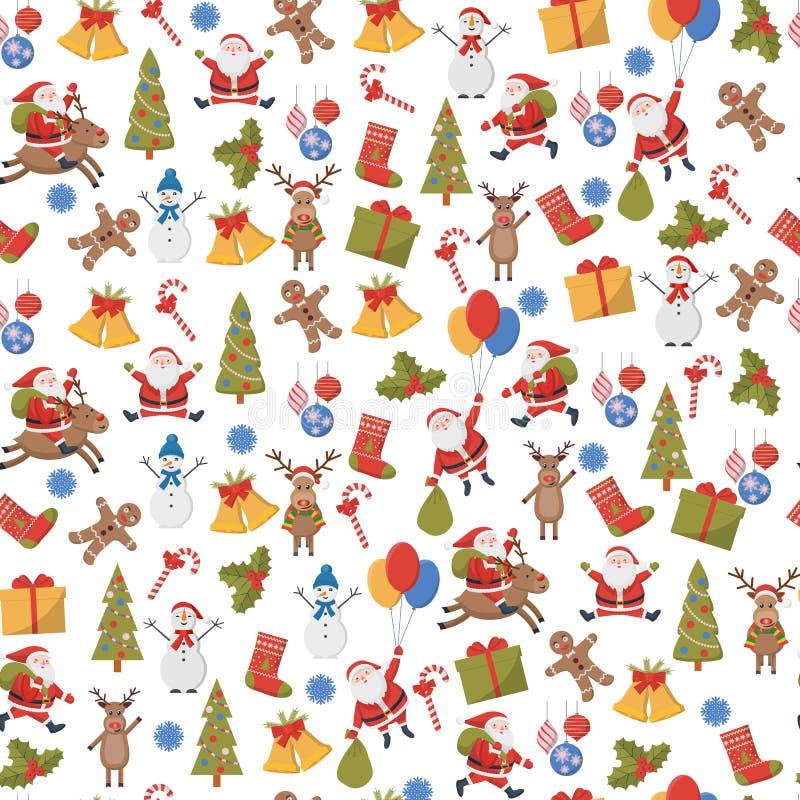Безшовная предпосылка с символами рождества и Нового Года иллюстрация штока