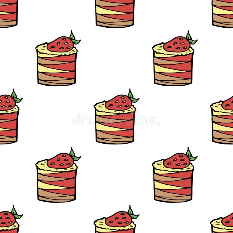Безшовная предпосылка с тортами с клубниками и сливк лимона и клубники бесплатная иллюстрация