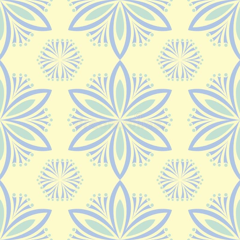 Безшовная предпосылка с флористической картиной Бежевая предпосылка с элементами света - голубыми и зелеными цветка иллюстрация штока