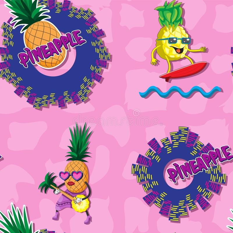 Безшовная предпосылка с характером ананаса волны города прибоя конспекта гитары писем плода на розовой предпосылке Дизайн печати иллюстрация вектора