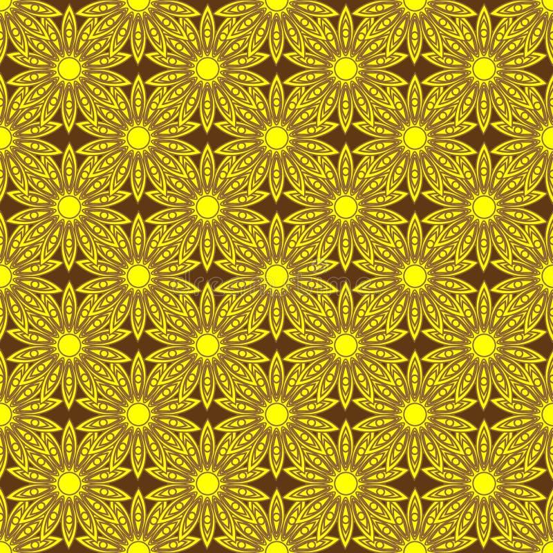 Безшовная предпосылка с цветками золота иллюстрация вектора