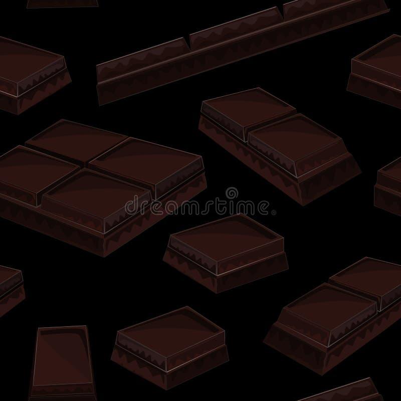 Безшовная предпосылка с частью черных шоколадных батончиков иллюстрация вектора