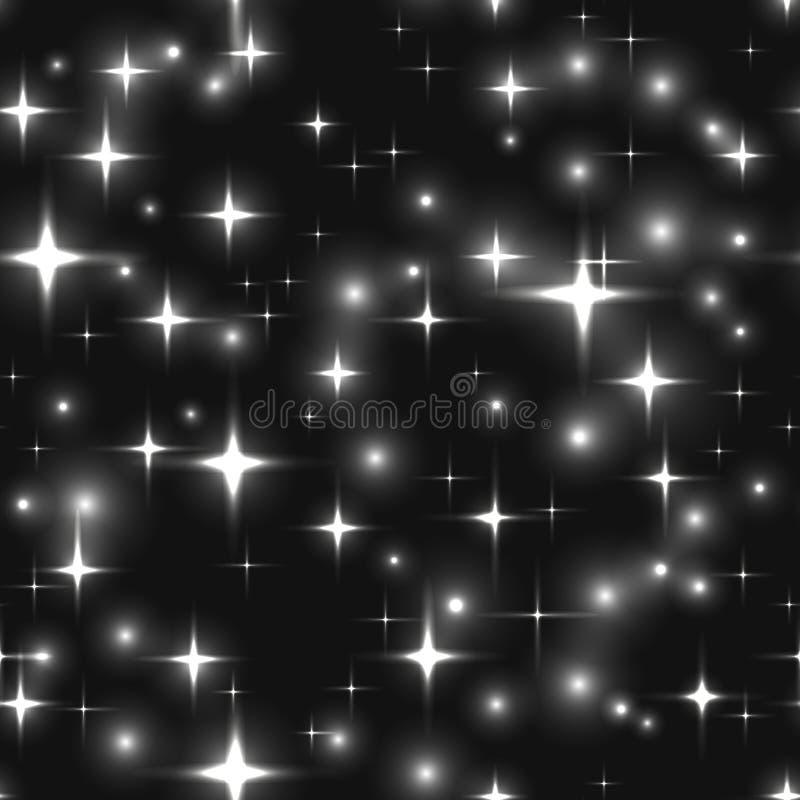 Безшовная предпосылка с черно-белыми звездами и нерезкостями стоковое изображение