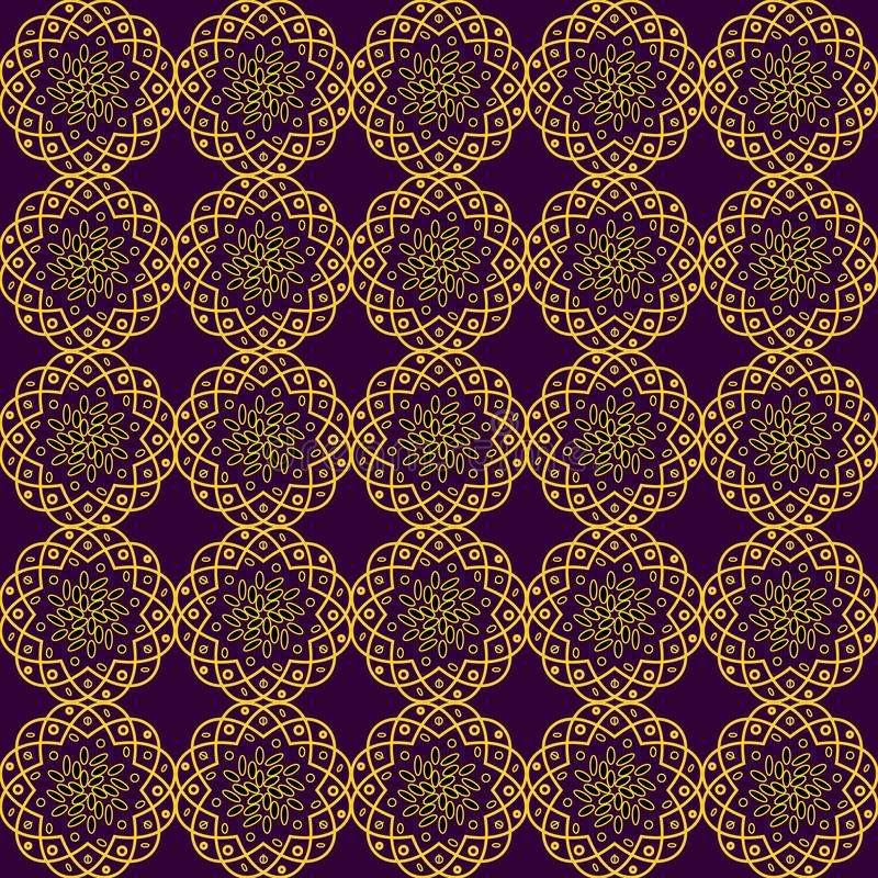 Безшовная предпосылка с чувствительными желтыми openwork цветками на темной бургундской предпосылке иллюстрация штока