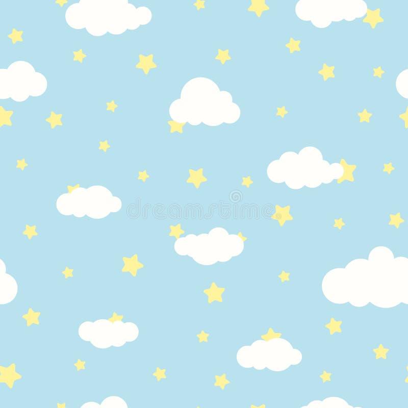 Безшовная предпосылка шаржа с белыми облаками и желтыми звездами на голубом небе Картина overcast вектор иллюстрация штока