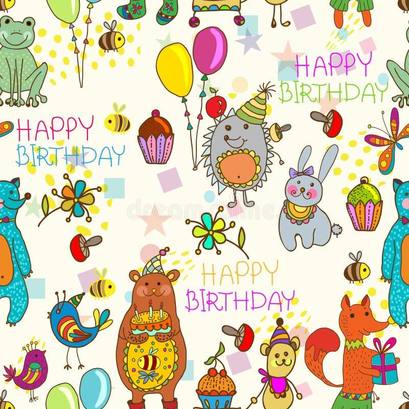 Безшовная предпосылка шаржа с днем рождения бесплатная иллюстрация