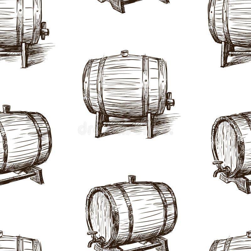 Безшовная предпосылка эскизов бочек вина бесплатная иллюстрация