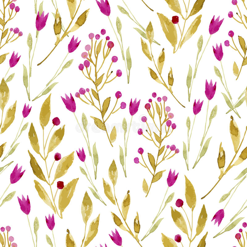 Безшовная предпосылка акварели состоя из цветков и ягод иллюстрация вектора