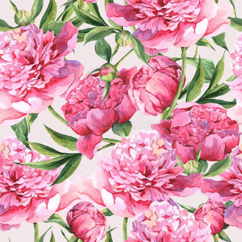 Безшовная предпосылка акварели с розовыми пионами иллюстрация штока