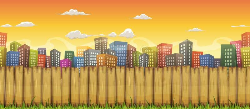 Безшовная предпосылка ландшафта города иллюстрация вектора