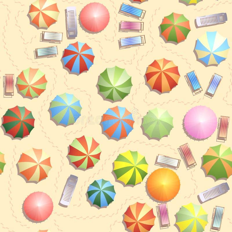 Безшовная предпосылка много парасолей, стул палубы на пляже. бесплатная иллюстрация