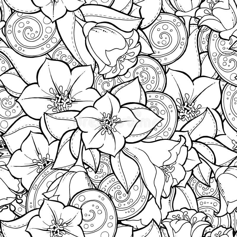 Безшовная предпосылка в векторе с doodles, цветками и Пейсли бесплатная иллюстрация