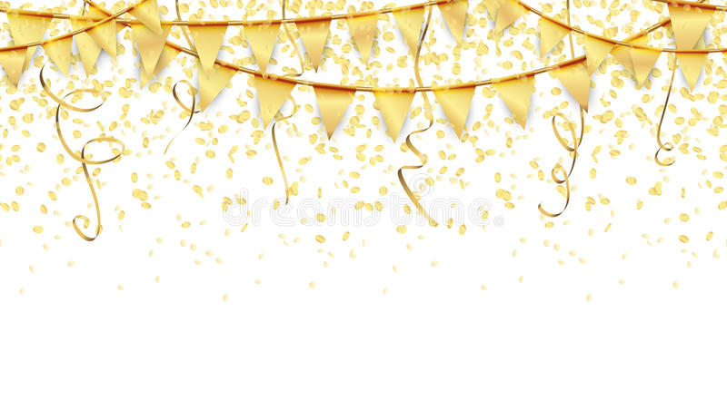 безшовная предпосылка гирлянд, confetti и лент иллюстрация штока