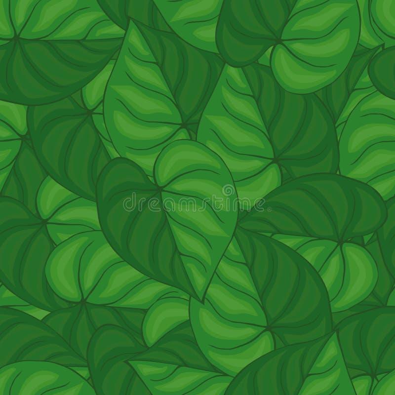 Безшовная предпосылка зеленых листьев картина безшовная иллюстрация вектора