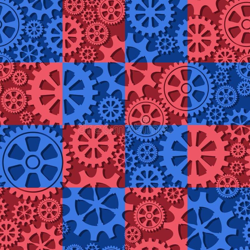 Безшовная предпосылка красных и голубых колес шестерни цвета также вектор иллюстрации притяжки corel иллюстрация штока