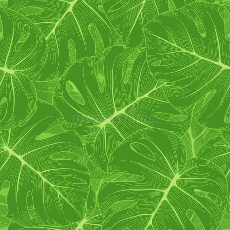 Безшовная предпосылка. Листья зеленого цвета с извергом o иллюстрация штока