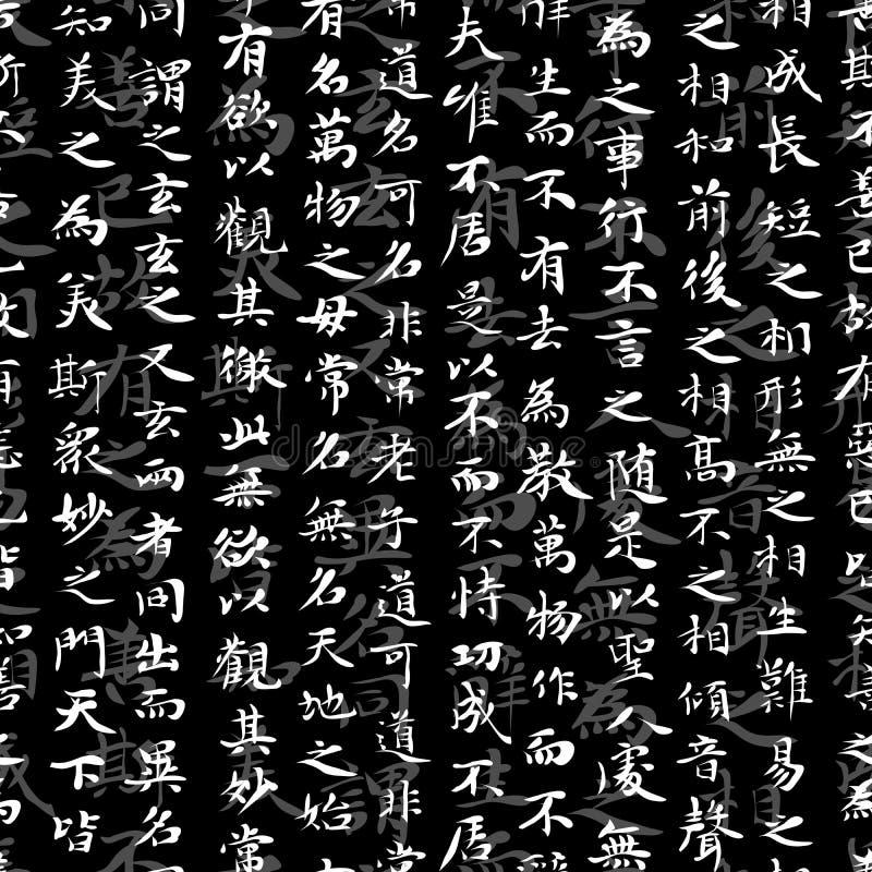 Безшовная предпосылка много иероглифов. иллюстрация штока