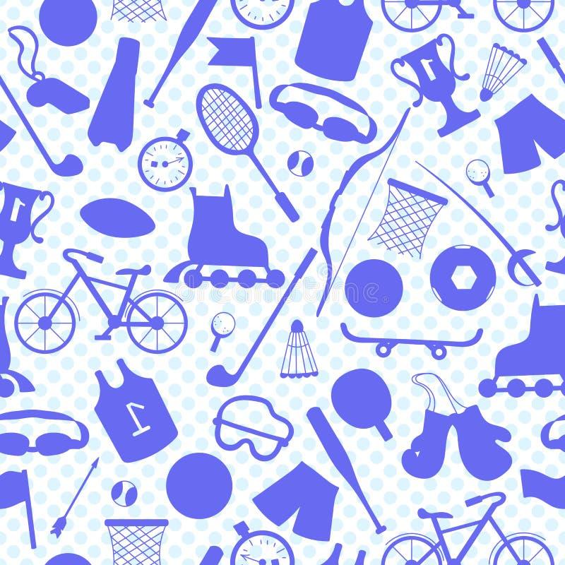 Безшовная предпосылка на теме лета резвится, голубые планы спортивного инвентаря на светлой точке польки предпосылки бесплатная иллюстрация