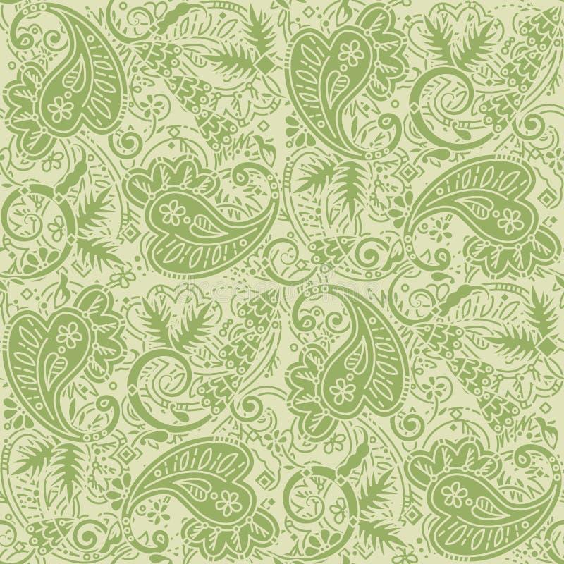 Безшовная предпосылка Пейсли бледных ых-зелен и tan цветов иллюстрация штока
