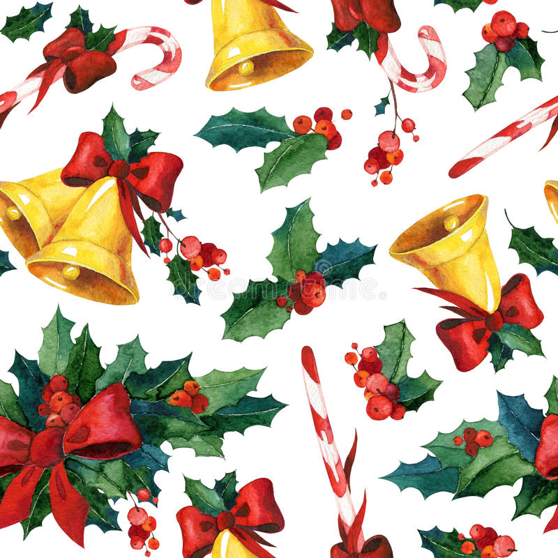 Безшовная предпосылка рождества акварели с падубом, золотыми колоколами, тросточкой конфеты и красной лентой бесплатная иллюстрация