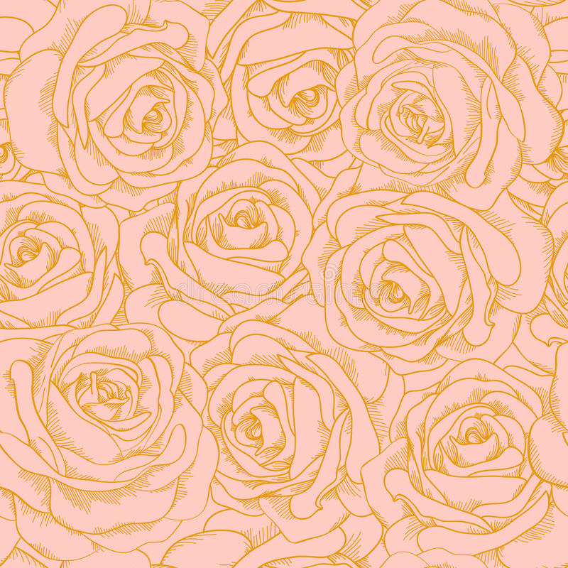 Безшовная предпосылка розовых роз с outl золота иллюстрация штока
