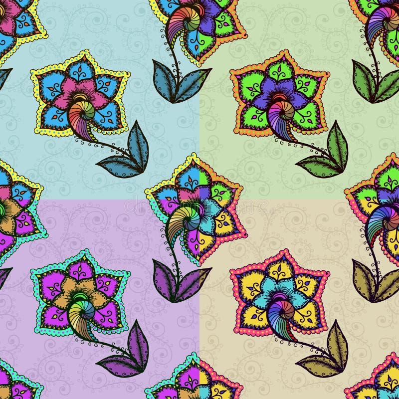 Безшовная предпосылка с абстрактное красочное флористическим иллюстрация штока