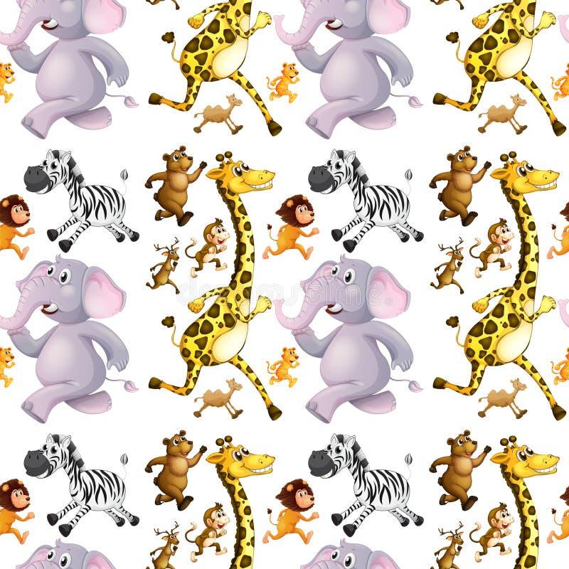 Безшовная предпосылка с бежать много животных иллюстрация штока