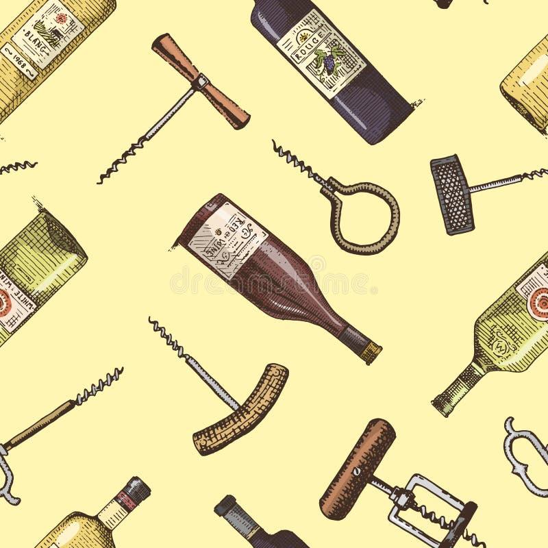 Безшовная предпосылка с бутылками штопора и вина выгравировала винтажную картину иллюстрация вектора