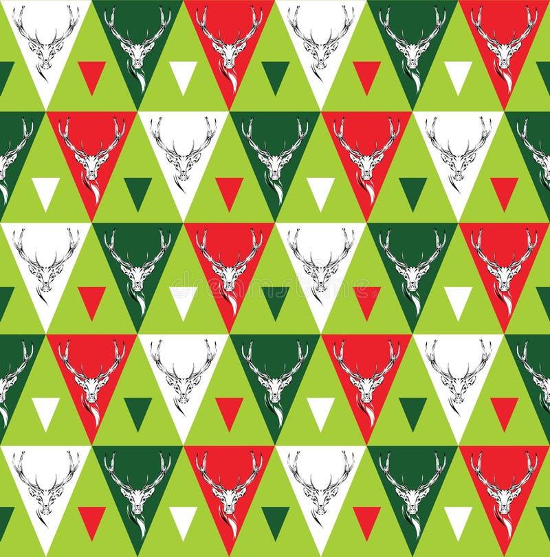 Безшовная предпосылка с головами оленей этнический орнамент иллюстрация вектора