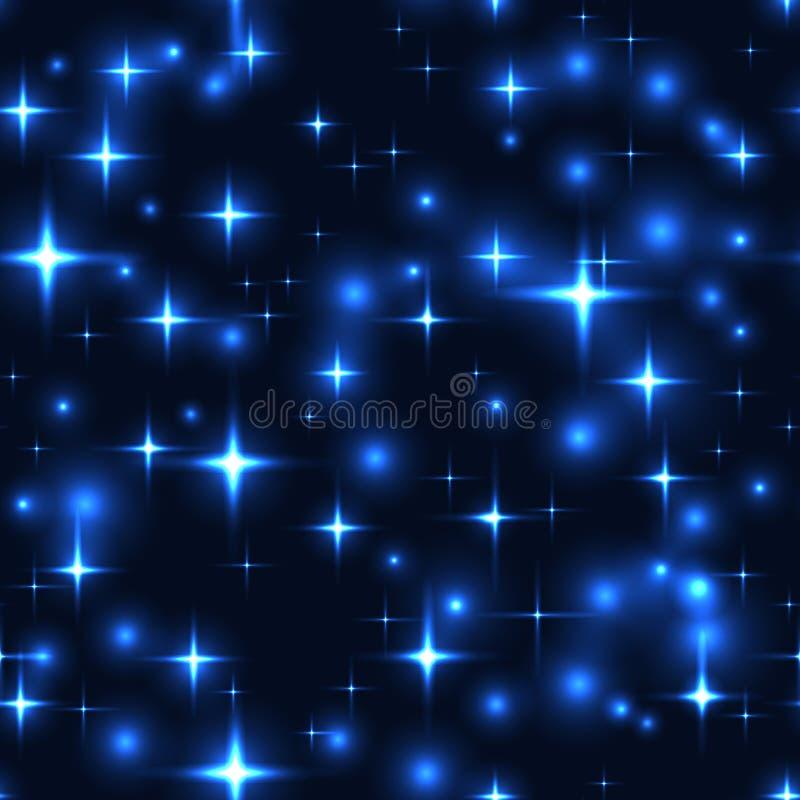 Безшовная предпосылка с голубыми звездами и нерезкостями иллюстрация штока