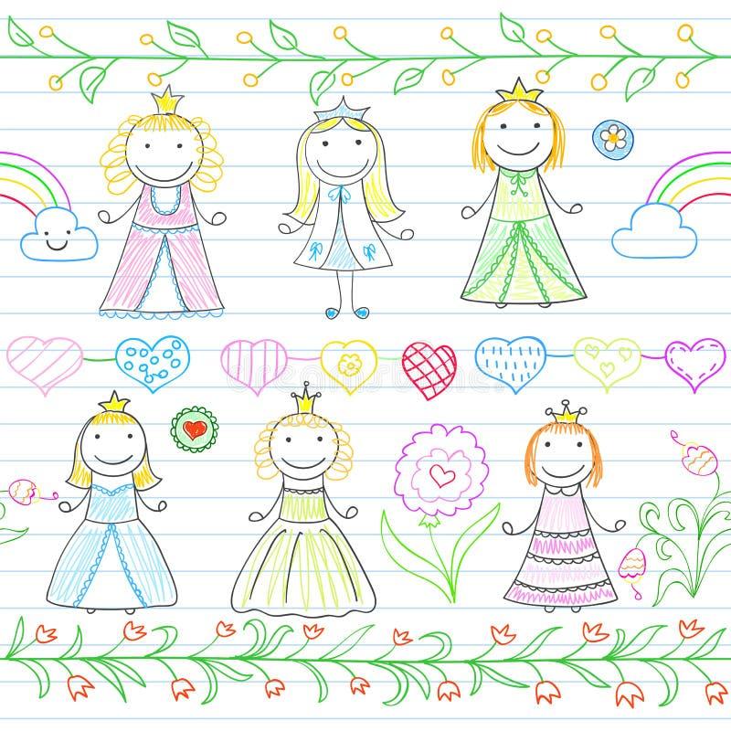 Безшовная предпосылка с границами в стиле doodle и счастливом littl иллюстрация вектора