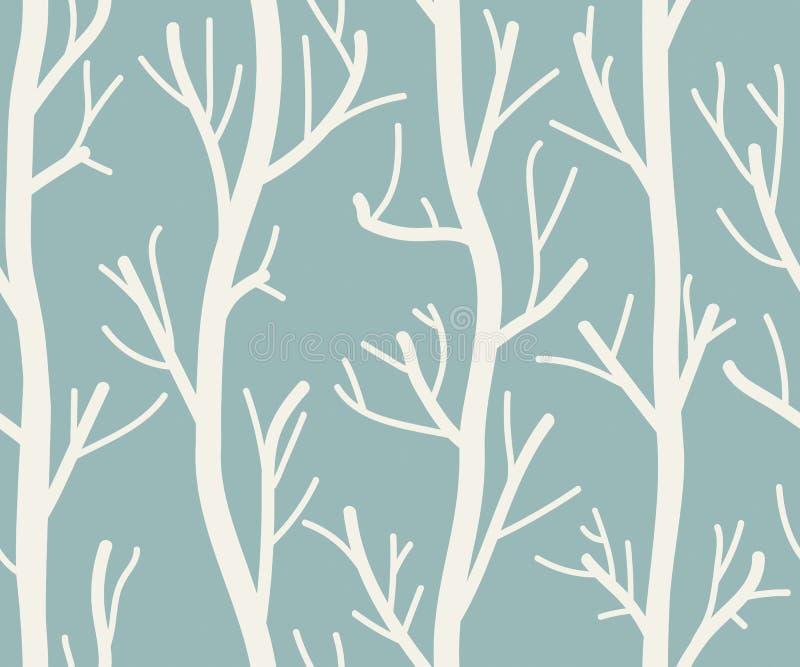 Безшовная предпосылка с деревьями иллюстрация вектора